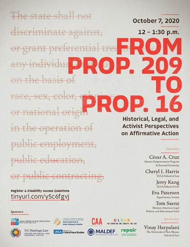 Poster from From Prop 209 to Prop 16: Historical, Legal and Activist Perspectives on Affirmative Action