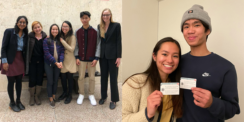 Left: RFK student siblings with their UCLA Law student representatives. Right: The siblings with their green cards.