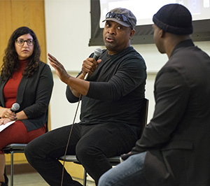 Alicia Virani, associate director, UCLA Law Criminal Justice Program; Chuck D. activist and co-founder of the hip hop group Public Enemy; and Bryonn Bain, director of the UCLA Prison Education Program.
