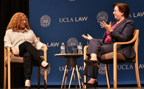 UCLA Law Dean Jennifer L. Mnookin (left), who was elected to the American Academy of Arts and Sciences on April 23, converses with U.S. Supreme Court Justice Elena Kagan in 2018.