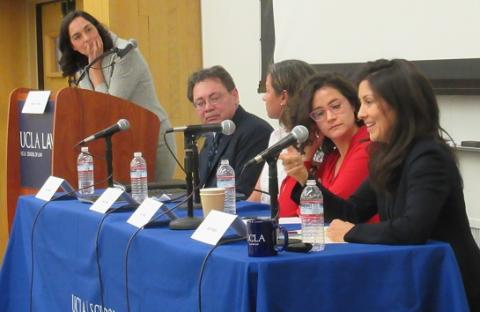 UCLA Law professor Jennifer Chacón moderates a panel featuring Kevin Johnson of UC Davis School of Law, Amada Armenta of UCLA Luskin School of Public Affairs, Ana Muñiz of UC Irvine School of Social Ecology and Julia Mendoza of Stanford Law School.