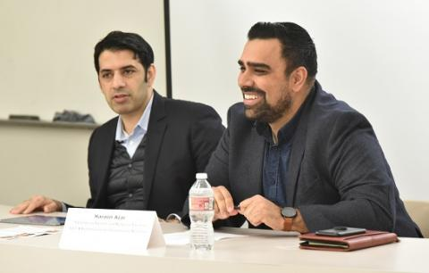 "Facebook's Shaarik Zafar (left) and UCLA Law alumnus Haroon Azar '08 speak at ""Can Social Media Be Fixed? (And Do They Need Fixing?)"" on Feb. 15."
