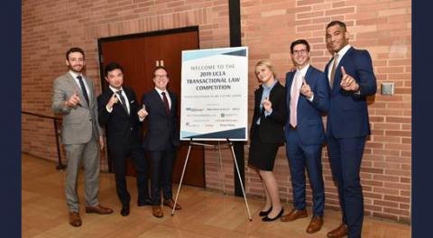 UCLA Law students, Adam Marx '19, Lingxi Zhong L.LM '19, Ethan Asofsky '20, Rachel Samec '19, Alec Lautanen '20 and Cody McDavis '19.