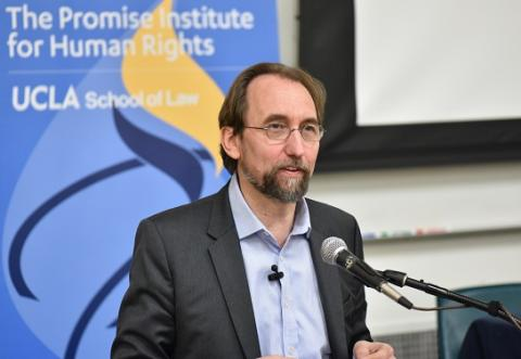 "Prince Zeid Ra'ad Al Hussein of Jordan delivers the keynote address at ""Critical Perspectives on Race and Human Rights: Transnational Re-Imaginings"" on March 8."