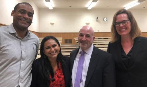 Epstein Program faculty member Sherod Thaxton, Janki Kaneria '19, Gideon's Promise founder and president Jonathan Rapping and Epstein Program faculty director Ingrid Eagly