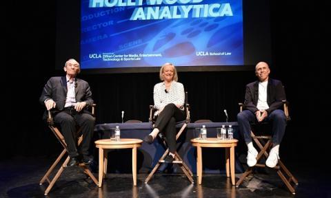 Kenneth Ziffren '65, Meg Whitman and Jeffrey Katzenberg present the keynote conversation at the 43rd UCLA Entertainment Symposium on March 16.