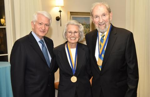 UCLA Chancellor Gene Block presented Shirley Shapiro and Ralph Shapiro with the UCLA Medal, the campus' highest honor, on April 2.