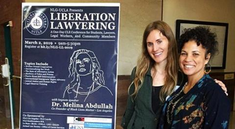 Kath Rogers, executive director of the National Lawyers Guild Los Angeles chapter, with Melina Abdullah, Cal State Los Angeles professor and founder of Los Angeles Black Lives Matter.