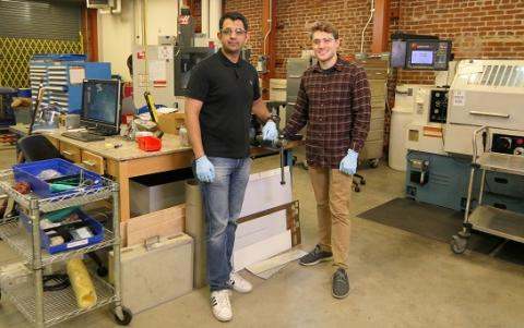 Mote members Harshul Thakkar (left) and Mac Kennedy have been refining prototypes of their environmental product at the Los Angeles Cleantech Incubator.