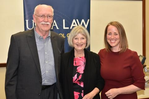 UCLA Law professor Beth Colgan (right) celebrates with her parents, Steve and Sue, at the presentation of the 2019 Rutter Award for Excellence in Teaching.