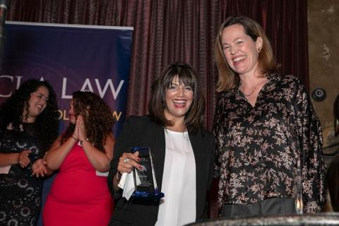 Special honoree Jyoti Nanda and UCLA Law professor Ingrid Eagly celebrate at the 2019 U. Serve L.A. gala.