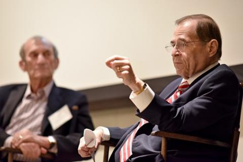 Alumnus and entertainment attorney Ken Ziffren '65 (left) appears in conversation with U.S. Rep. Jerrold Nadler at UCLA Law on April 23.