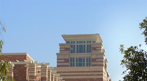 Tower of building on the UCLA Law campus