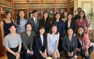 APILSA members join Ninth Circuit Judge Jacqueline Nguyen '91 in her chambers in October 2019.